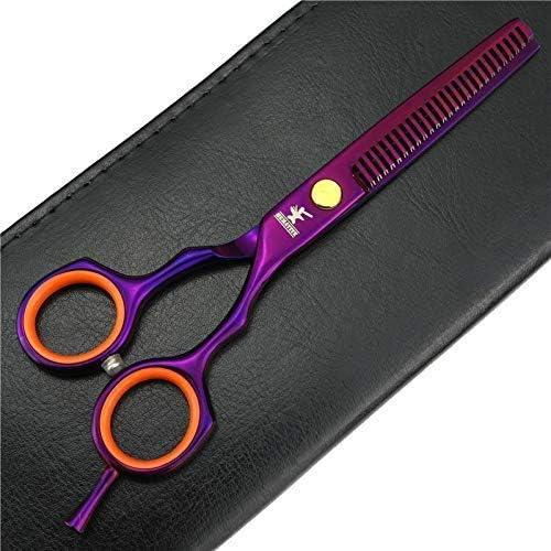 FACAIA 5.5 inch Hair Salon Hairdressing Scissors and pet Scissors 15.8cm Hair Scissors and pet Hair Trimming Tools Scissors (Golden Set) Purple 2 Piece Set