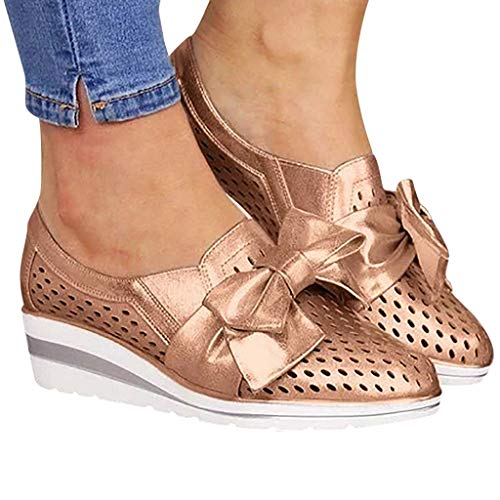 Cenglings Womens Casual Round Toe Breathable Wedges Loafers Bowknot Hollow Out Walking Shoes Beach Casual Platform Sandals Gold