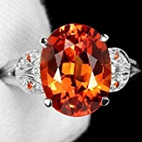 Ravewan Shop Chic 925 Silver Cocktail Rings 4.5ct Orange Sapphire Wedding Engagement Sz#6-10 (7)