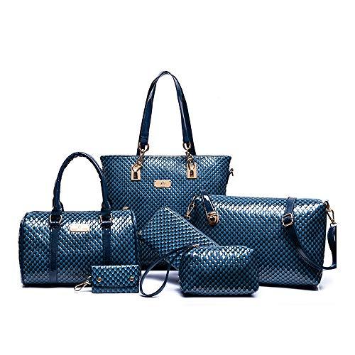 H&X Womens 6 Pcs PU Leather Tote Work Bag Handbag and Purse Set (design blue)