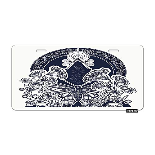 Moslion Butterfly License Plate Flowers Butterfly in Triangle Art Nouveau Tattoo Circles Car Tags Aluminum Metal Custom License Plate Cover 6x12 Inch for Truck SUV