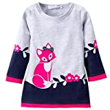 Kids Winter Warm Dress Fashion Girl Fox Dresses Knitted Long Sleeve Clothing Navy 3T