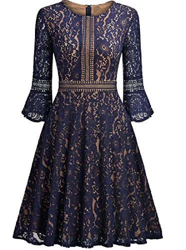 Purplish Blue Sexy Length Mid Dress Big Lace Women Coolred Elegant Solid Pleated Hem pw1ZqfT