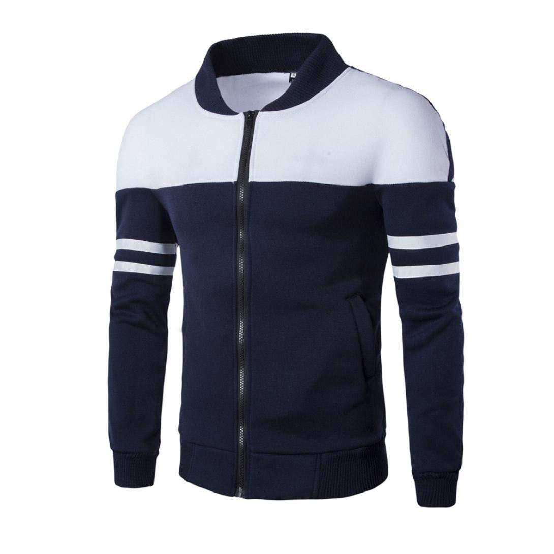 Sharemen Men's Slim Fit Patchwork Pocktet Tops Coat Outwear