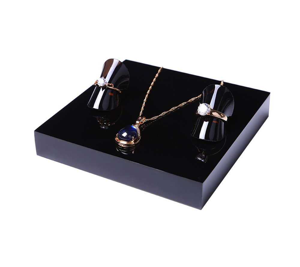 Fine Jewelry Display Platform Block Black Premium Acrylic Necklace Ring Earrings Precious Stones Photography Exhibition Art (Set of4) by Svea Display (Image #7)
