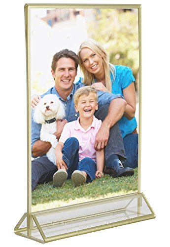 Super Star Quality Clear Acrylic Double Sided Frames Display Holder with Vertical Stand and 3mm Gold Border, 5 x 7-Inches (Pack of 6) by Super Star Quality (Image #4)
