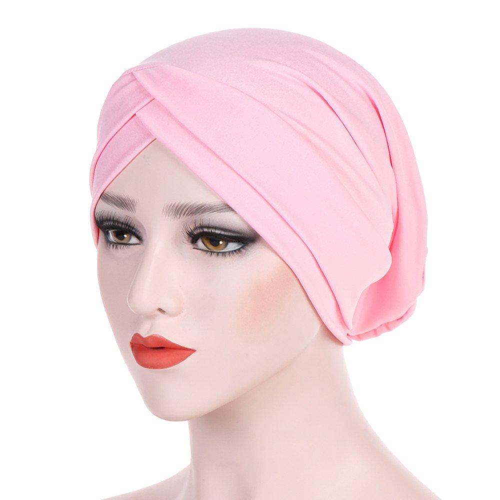 WYTong New Arrival! Women Muslim Hijab Cap Ladies Turban Hat Solid Color Stretch Soft Headwrap Headwear(Pink)