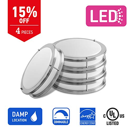 OSTWIN 12-inch Small size LED Ceiling Light Fixture Flush Mount, Dimmable, Round 15 Watt (75W Repl) 5000K Daylight, 1050 Lm, Nickel Finish with Acrylic shade (4 Pack) UL and ENERGY STAR listed by OSTWIN (Image #2)