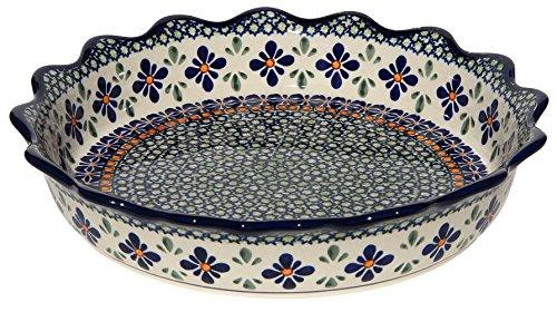 Stoneware Boleslawiec (Polish Pottery Quiche/Scalloped Pie Dish From Zaklady Ceramiczne Boleslawiec #1765-du60 Unikat Pattern, Diameter: 9