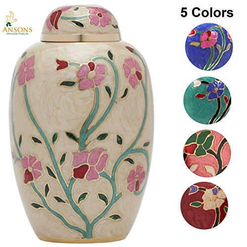 - Ansons Urns Cremation Urn - Flower Funeral Urn for Human Ashes - Burial urn with Lacquer Finish - 100% Brass - Flora Cream