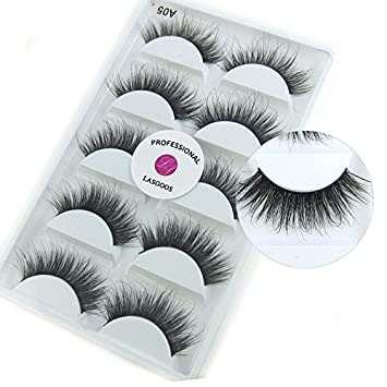 3c039f43f8b Amazon.com: Luxurious 100% Siberian Mink Fur 3D False Eyelash LASGOOS  Degisn Natural Messy Long Fake Eyelashes 5 Pairs/Box (A05): Beauty
