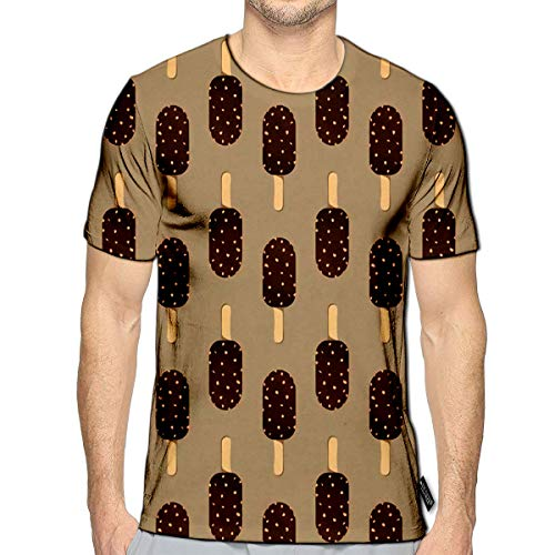 - 3D Printed T-Shirts Ice Cream Icon Cartoon Chocolate Dessert Sweet Cold Sn Short Sleeve Tops Teesf