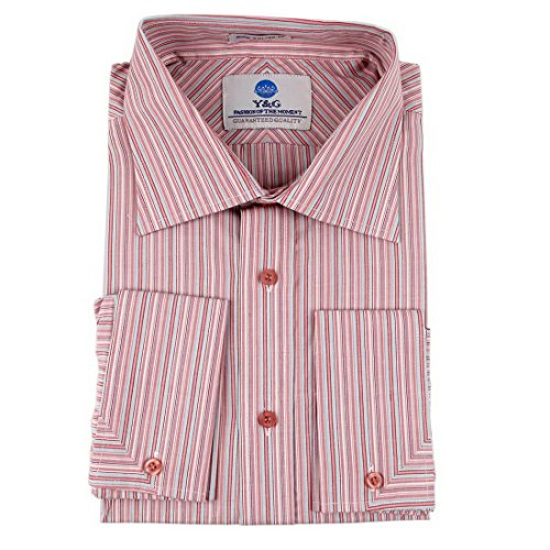 Y&G FC-17-M Purple Striped French Cuff Shirt Gift Idea for Boss Cotton Dress Shirt By