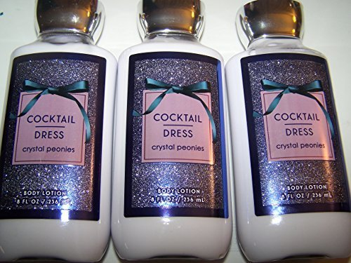 x3 Bath and Body Works Cocktail Dress Shea Plus Vitamin E Body Lotion 8 Ounce Lot of 3 (Peony Body Lotion)