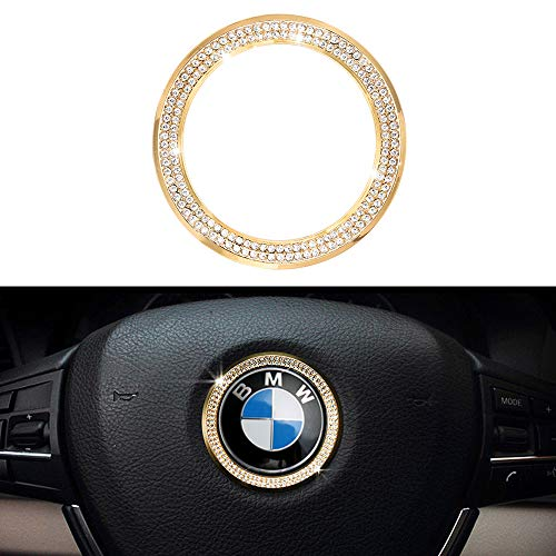 1797 Compatible Steering Wheel LOGO Caps BMW Accessories Parts Trim Covers Decal Sticker Bling Interior Visors Decorations 3 4 5 Series X3 X5 E30 E36 E34 E39 F30 F34 F36 F15 G01 G30 G31 Crystal Gold