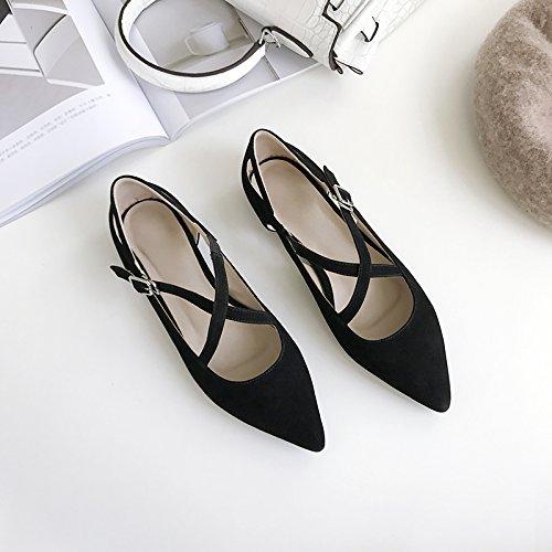 Chaussures et Angrousobiu sauvage unique plates Light Femme cuir Low en des Croix pointe chaussures Bracelet qw6razq17