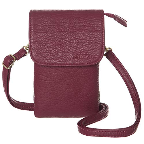 MINICAT Roomy Pockets Series Small Crossbody Bags Cell Phone Purse Wallet For Women(Dark Red) ()