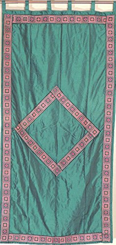 Trendy Dartmouth Green Embroidered Curtain with Embroidered Border and Diamond Pattern - Fancy Dupioni Art Silk Indian Window Dressing ~ 82 Inch x 45 ()