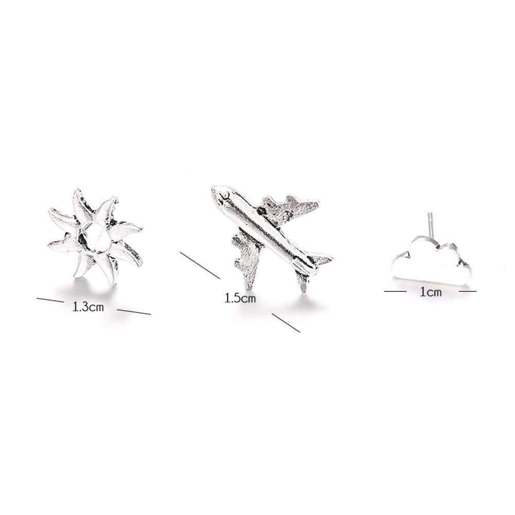 Polytree Earrings, 3Pcs/SetWomen Aircraft Cloud Sun Shape Ear Studs Earrings Party Jewelry Gift
