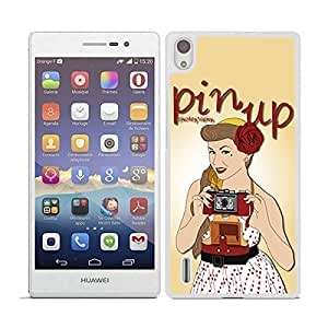 FUNDA CARCASA PARA HUAWEI P7 DISEÑO PIN UP 1 BORDE BLANCO