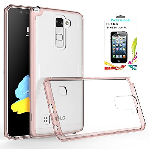 LG Stylo 2/Stylus 2/Stylo 2V/G Stylo 2 clear case with HD Screen Protector,AnoKe[Scratch Resistant] Hard Transparent Acrylic Rubber Silicone Bumper Hybrid Ultra Slim LS775 TM Rose - Clear Case Stylus Phone