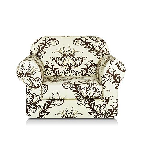 2 Piece Plastic Chair (TIKAMI 2-Piece Spandex Printed Fit Stretch Sofa Slipcovers (chair, Coffee))