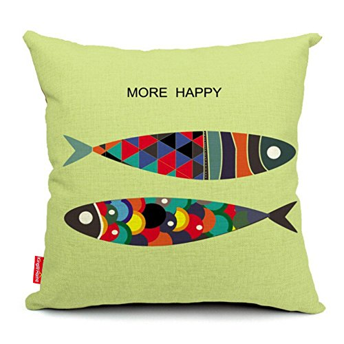 Throw Pillow Covers 18 Inches : Kingla Home? Cotton Linen Square Decorative Throw Pillow Covers 18 X 18 Inch Double Fish Pillow ...