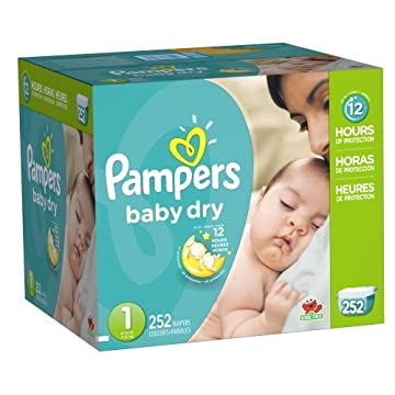 Pampers Baby Dry Diapers Economy Pack (Size 1, 8-14lbs, Pack of 252)