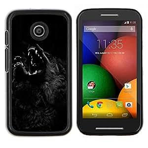 Caucho caso de Shell duro de la cubierta de accesorios de protección BY RAYDREAMMM - Motorola Moto E - Hombre lobo Noche Negro Perro Howl