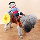 Funny Cool Cowboy Rider Bullfight Pet Dog Costume Riding Clothes Party Cosplay Apparel for Small Dogs(Poodle Teddy etc)