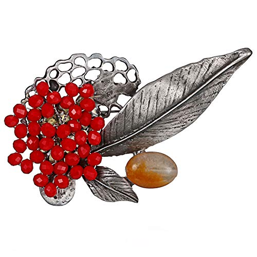 Afco Women Leaf Flower Faux Ruby Beads Collar Brooch Pin Clothes Jewelry Red