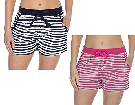 Insignia Femmes Pantalon de Détente Pull-Over Coton Doux Pyjama Short Rayure   Amazon.fr  Vêtements et accessoires 382c4a4e099