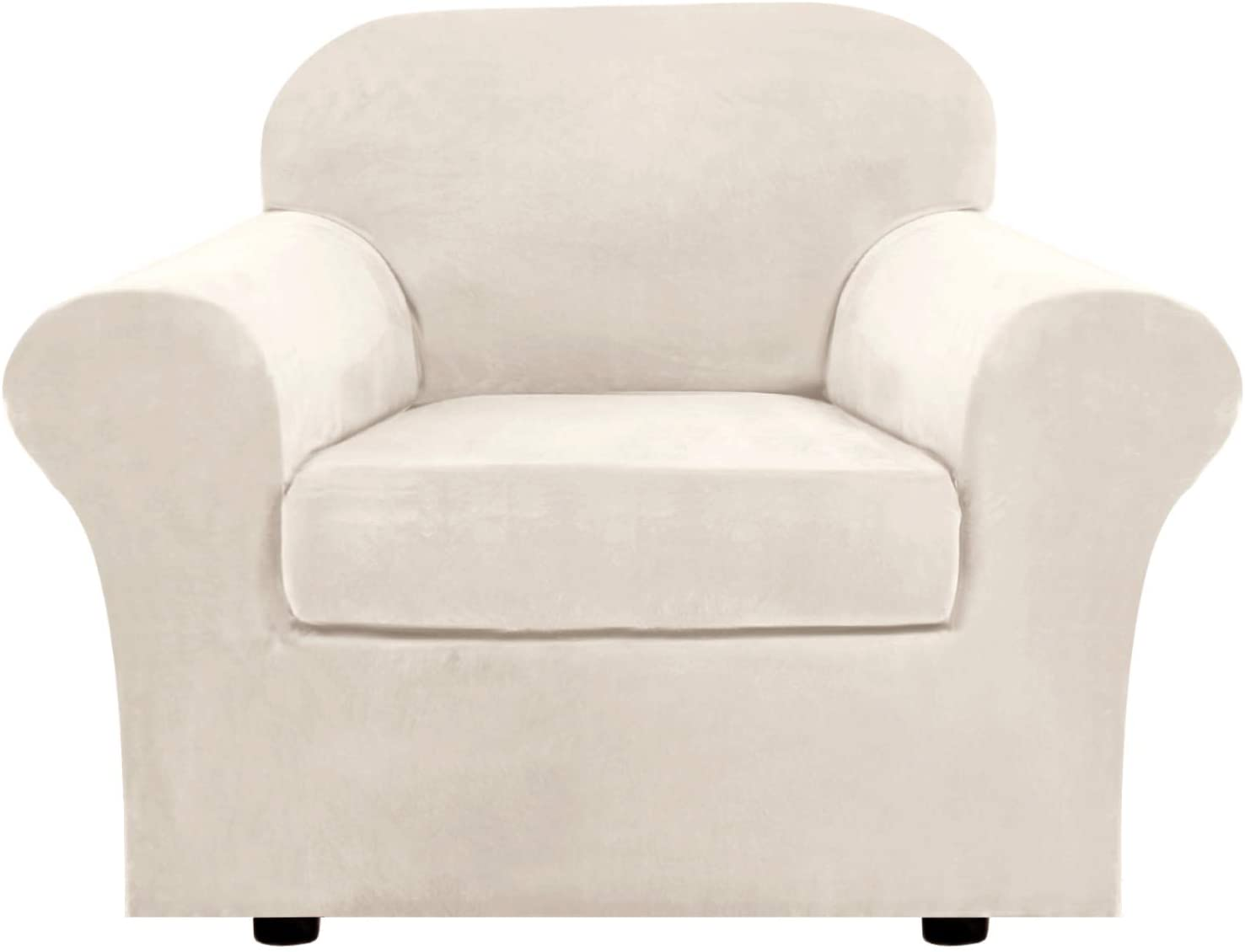 H.VERSAILTEX Rich Velvet Stretch 2 Piece Chair Cover Chair Slipcover Sofa Cover Furniture Protector Couch Soft with Elastic Bottom Chair Couch Cover with Arms, Machine Washable(Chair, Ivory)