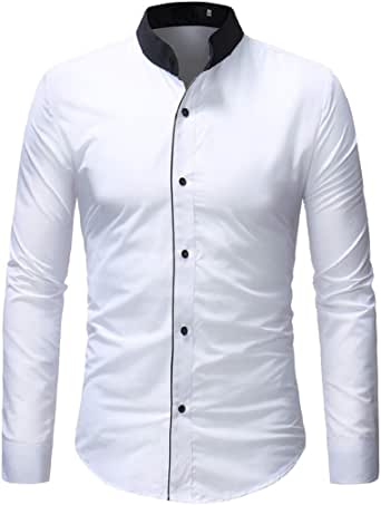 Luckycat Slim Fit Camisa de Oficina para Hombre Camisa de Vestir Casual para Hombre Camisas Steampunk Blancas y Negras Camisa de Manga Larga Slim Fit con Cuello Abotonado con Cuello Abotonado Camisas: