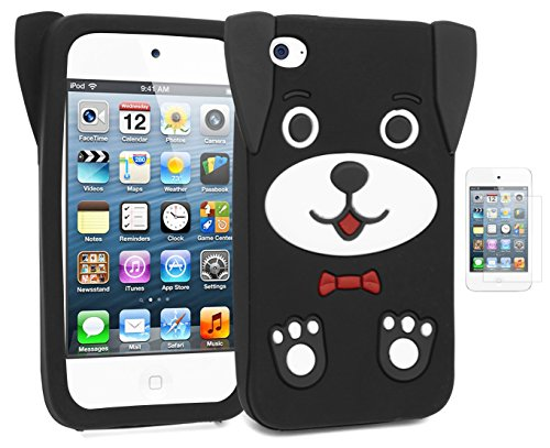 Apple iPod Touch 4,Bastex Cute 3D Silicone Puppy Dog Case for Apple iPod Touch 4, 4th Generation - Black+Screen Protector -