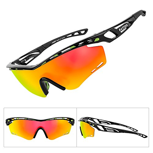 BATFOX Polarized Sports Sunglasses Memory Metal Glasses Leg for Men Women Cycling Running Driving Fishing Golf Baseball tr90 Soccer Softball Adults Hiking Ladies Runners Teens Joggingt (Black Orange)