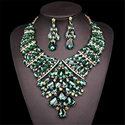 Sparkling Green Gold Crystal Necklace Earrings Sets