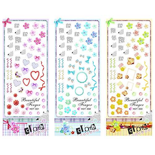 3 Packs/LOT Textile Fabric Flower Heart Nail Cross Tattoos Sticker Water Decal Nail Art HOT331-333]()