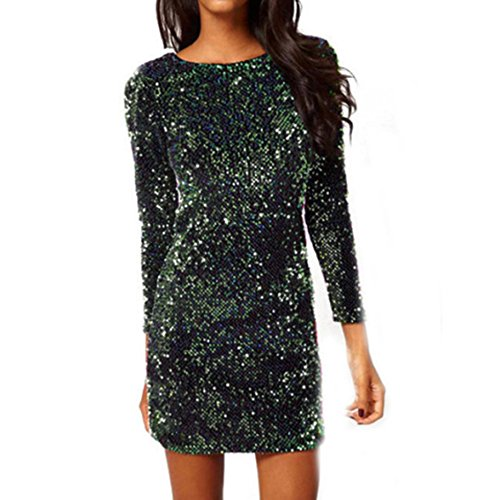 Womens Spring Sequined Backless Dress Long Sleeve Stretch Solid Clubwear Straight Mini Dresses