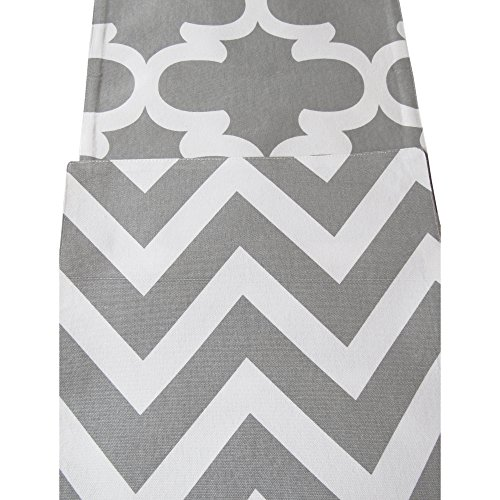 (Crabtree Collection Double Sided Table Runner -(12 x 90, Noble Grey Chevron/Trellis) )