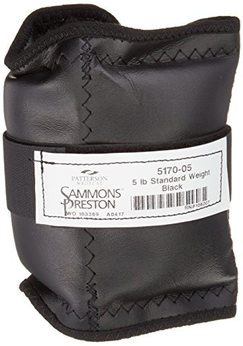 Sammons Preston Cuff Weight, 5 lb, Black, Velcro Strap & D-Ring Closure, Grommet for Easy Hanging, Steel Ankle & Wrist Weights are Lead Free, Exercise Tool for Strength Building & Injury Rehab by Sammons Preston
