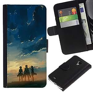 JackGot ( Tres Heros ) Samsung Galaxy S4 Mini i9190 (NOT S4) la tarjeta de Crédito Slots PU Funda de cuero Monedero caso cubierta de piel