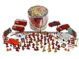 Firemen Action Figures - Big Bucket of Firefighters - Huge 100 Piece Set