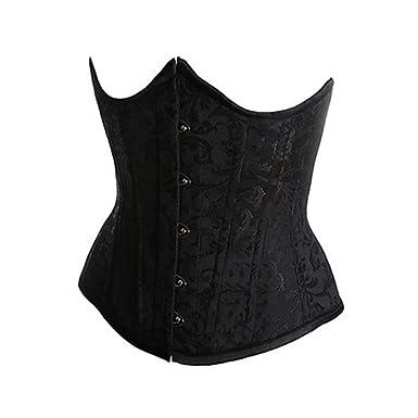 ca5b93a13f563 Muka Women s Boned Plus Size Overbust Underbust Corset Bustier Waist Cincher-Black  Brocade 30