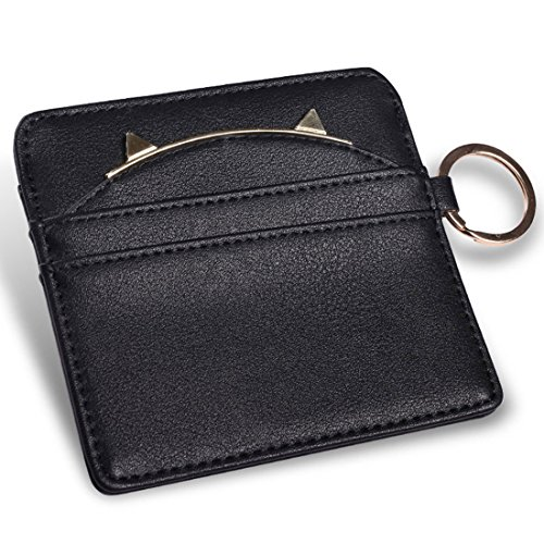 Leather Coin Purses Women Key Chain Credit Card Holders Girls Wallet (Black) (Simple Card Holder)