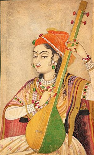 Lady Playing the Tanpura Wall Art Poster Print