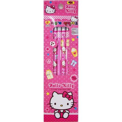 Hello Kitty Pencil - Hello Kitty 4p Eraser Pencil Set