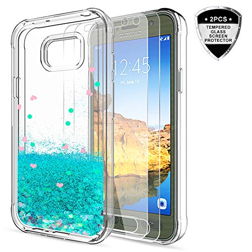 Galaxy S7 Active Glitter Case with Tempered Glass Screen Protector [2 Pack] for Girls Women,LeYi Bling Shiny Moving Quicksand Liquid Clear TPU Protective Phone Case for Samsung S7 Active ZX Turquoise
