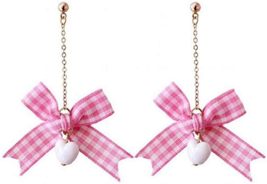 BOC Pendientes Colgantes de Mujer Pendientes de Seda con Perlas de Lazo,UNA,Aretes