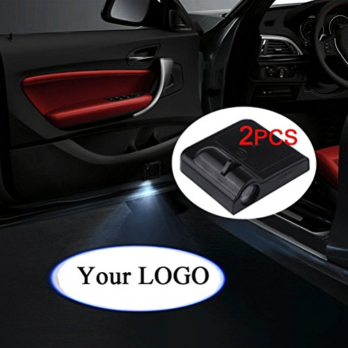 Fangfei 2x Custom Logo Wireless Laser Projector Car Door Step Courtesy Welcome Lights Puddle Ghost Shadow LED Lights - Accept Custom Logo (Custom your logo)